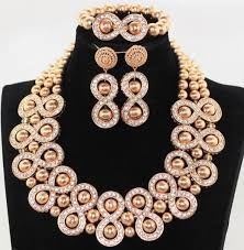 chunky fashion necklace images Free shipping rose pink stone beads jewelry set chunky statement jpg