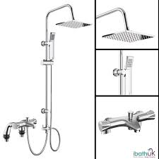 Bathroom Shower Mixer Bath Shower Mixer Thermostatic Valve Tap 3 Way Use Dual Square