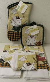 Kitchen Fat Chef Decor 8 Piece Fat Chef Theme Kitchen Linen Set Oven Mitts Dish Towels