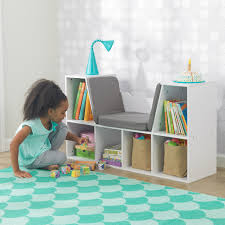 kidkraft bookcase with reading nook white toys
