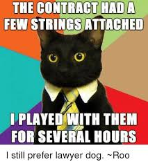 Lawyer Dog Memes - the contract hada few strings attached o i played with them for