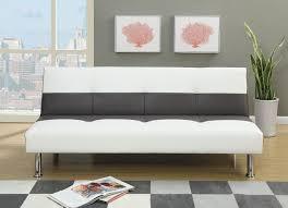 poundex f6820 white ebony faux leather futon adjustable sofa bed
