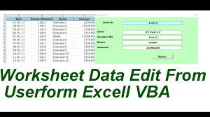 worksheet data edit from userform excell vba youtube