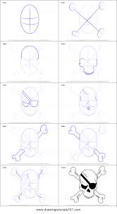 how to draw a pirate skull printable step by step drawing sheet