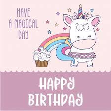 happy birthday card with lovely baby unicorn vector premium