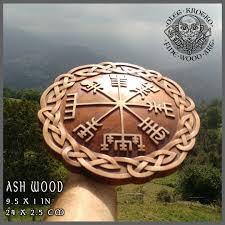 valknut hand made wood carved picture viking compass ragnar