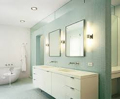 Bathroom Lighting Contemporary Lighting White Floating Vanity Cabinet And Wall Mount Faucets