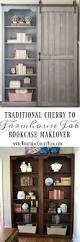Bookcase With Door by Bookcase Makeover Traditional Cherry To Farmhouse Fab