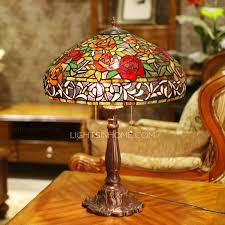 pretty rose pattern stained glass shade tiffany table lamps