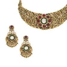 antique gold necklace images 22k floral gems antique necklace raj jewels jpg