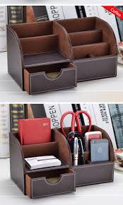 Leather Desk Organizer by Fancy Leather Multifunction Office Stationery Desk Set Desktop