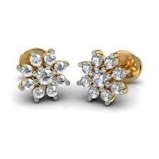 gold diamond stud earrings 14k yellow gold diamond stud earrings pooja jeweler surat id