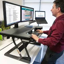sit stand computer desk ergotron 33 397 085 workfit t sit stand desktop workstation black