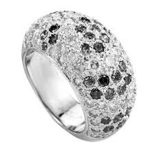 cartier diamond ring cartier white and black diamond pave white gold band ring for sale