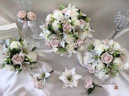 artificial wedding flowers small tiger lilies vintage mocha pink roses with foliage