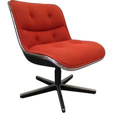 chaise de bureau knoll knoll swiveling orange desk armchair charles pollock 1980s