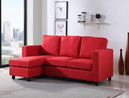 newport red linen small condo apartment sized sectional sofa with
