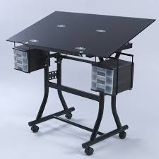 home element large black glass drawing art drafting table desk