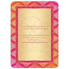 wedding invitation orange fuchsia gold damask faux pink