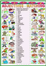 english worksheet adjectives matching b u0026w version included