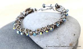 leather crystal bracelet images Leather wirework and crystal bracelet gentle spirit creations jpg