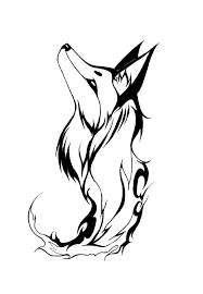 unique black tribal fox tattoo stencil