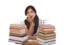 Picture Of Student Sitting At Desk Stressed High Or College Latina Female Student Sitting
