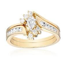 yellow gold bridal sets 14k yellow gold marquise and diamond bypass with