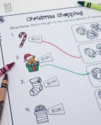Christmas Worksheets First Grade Christmas Shopping Money Math Worksheets Free