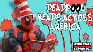 deadpool costume spirit halloween deadpool reads green eggs and ham readacrossamerica youtube