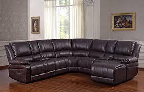 Brown Leather Sectional Sofas With Recliners Amazon Com Ufe Robinson Sectional Sofa With Recliner Chaise