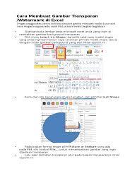 cara membuat tulisan watermark di excel cara membuat gambar transparan di excell