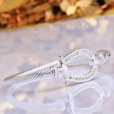 clasp cuff bracelet images Aziz bekkaoui rop shipping brand horseshoe bangle silver color jpg