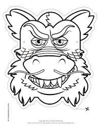chinese dragon mask color printable mask free download