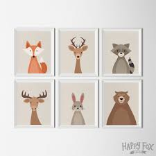 woodland animals set printable art nursery art prints woodland