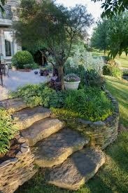 exterieur pflanzen vorgarten gestalten treppen stein garten