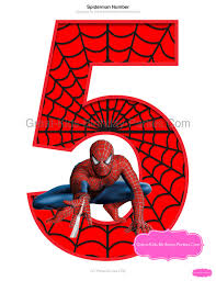 spiderman printable number 5 centerpiece instant download