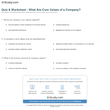quiz worksheet what are values of a company study