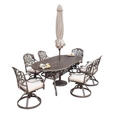 Cheap Patio Dining Set With Umbrella by Home Styles Floral Blossom Taupe 7 Piece Patio Dining Set With