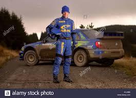 subaru rally racing subaru rally driver petter solberg during testing in wales before