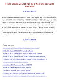 honda cbr250 service manual maintenance guide by tomokostott issuu