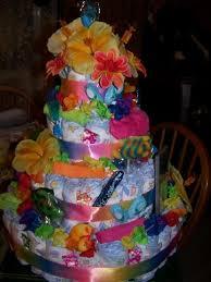 hawaiian baby diaper cake wedding cake