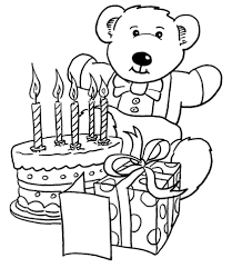 birthday gifts teddy bear coloring free printable