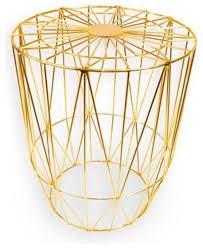 hut gold metal wire modern small stool coated metal wire bench