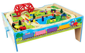 melissa and doug train table and set homewear 50 pc wood farm train table shop your way online