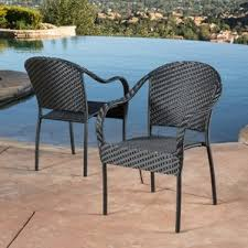 Stackable Patio Furniture Set Black Patio Dining Chairs You U0027ll Love Wayfair