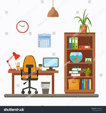 vector colorful office desk indoor plants stock vector 438858691