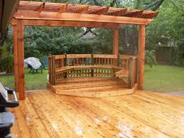 Lowes Pergola Plans by Deck Ground Level Deck Plans With Pergola And Cozy Bench For
