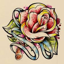 traditional rose drawing tattoo with stripe tattoo sketches