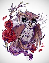 owl with roses for my client that has yet to be no more p ros